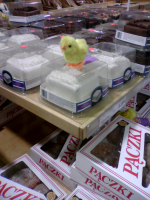 Easter chick on top of cream cake