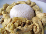 Chicken breast in coconut milk and mushrooms