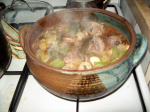 A beef pot with wild mushrooms and celery
